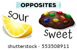 opposite words with sour and... | Shutterstock .eps vector #553508911