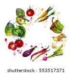 hand drawn set with  watercolor ... | Shutterstock . vector #553517371