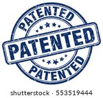 patented. stamp. blue round... | Shutterstock .eps vector #553519444