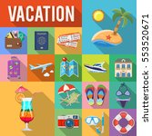 vacation and tourism flat icons ... | Shutterstock .eps vector #553520671