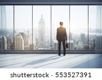 back view of man with briefcase ... | Shutterstock . vector #553527391