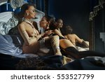 two beautiful women in bed | Shutterstock . vector #553527799