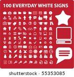 100 white universal signs.... | Shutterstock .eps vector #55353085
