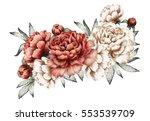 red peonies. watercolor flowers.... | Shutterstock . vector #553539709