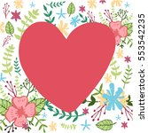 hand drawn heart with floral... | Shutterstock .eps vector #553542235