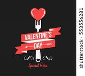 Valentines day menu design background. | Shutterstock vector #553556281