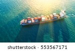 container ship in export and... | Shutterstock . vector #553567171