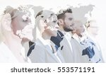 double exposure  business team... | Shutterstock . vector #553571191