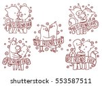 vector set of line emblems with ... | Shutterstock .eps vector #553587511