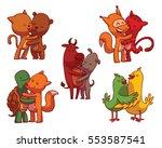 vector set of colored cartoon... | Shutterstock .eps vector #553587541