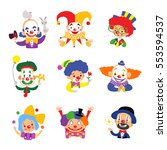 Set Of Clown Cartoon Icon...