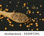 wood spoon with buckwheat on... | Shutterstock . vector #553597291