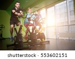 three sportsmens on exercise... | Shutterstock . vector #553602151