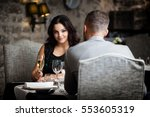 couple with champagne glasses... | Shutterstock . vector #553605319