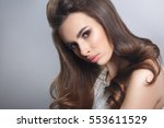 beauty portrait of a brown... | Shutterstock . vector #553611529