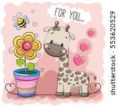 greeting card cute cartoon... | Shutterstock .eps vector #553620529