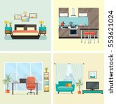 set of  interior design house... | Shutterstock .eps vector #553621024