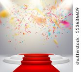 white winners podium with red... | Shutterstock .eps vector #553636609
