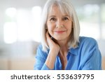 portrait of senior woman with... | Shutterstock . vector #553639795