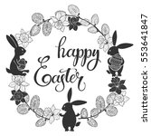 happy easter. round frame with... | Shutterstock .eps vector #553641847