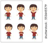 set of isolated boy in cartoon... | Shutterstock .eps vector #553645579