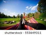 man in hammock  first person...   Shutterstock . vector #553649311