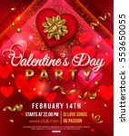 valentines day party flyer with ... | Shutterstock .eps vector #553650055