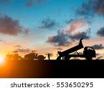 silhouette machinery work... | Shutterstock . vector #553650295