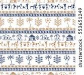 warli art painting seamless... | Shutterstock .eps vector #553651249