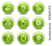 Fruits Web Icons  Green Glossy...