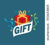 vector logo box with gifts | Shutterstock .eps vector #553653805