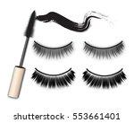 false eyelashes  mascara brush... | Shutterstock .eps vector #553661401
