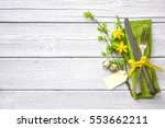easter table setting with... | Shutterstock . vector #553662211