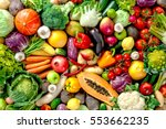 assortment of  fresh fruits and ... | Shutterstock . vector #553662235