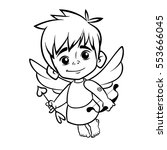 Outlined Funny Cupid Cartoon...