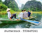 tourists traveling in small... | Shutterstock . vector #553669261