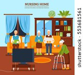 old people home interior... | Shutterstock .eps vector #553681561