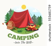 camping illustration with... | Shutterstock .eps vector #553681759