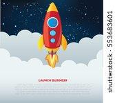 rocket and business start up... | Shutterstock .eps vector #553683601