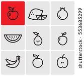 fruit line icons | Shutterstock .eps vector #553685299