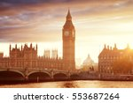 big ben and westminster at... | Shutterstock . vector #553687264