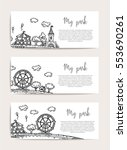 amusement park  rides and... | Shutterstock .eps vector #553690261