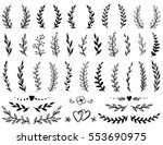 Stock vector vintage set of hand drawn tree branches with leaves and flowers on white background 553690975