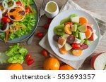 Fruit Salad In Gray Dish On...