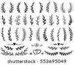 vintage set of hand drawn tree... | Shutterstock . vector #553695049