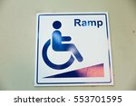 ramp way for disable sign | Shutterstock . vector #553701595