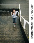 latin urban fitness woman... | Shutterstock . vector #553709989