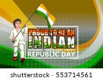 boy holding tricolor indian... | Shutterstock .eps vector #553714561