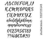 handwritten font letters. brush ... | Shutterstock .eps vector #553725145