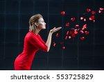 valentine's day concept  woman... | Shutterstock . vector #553725829